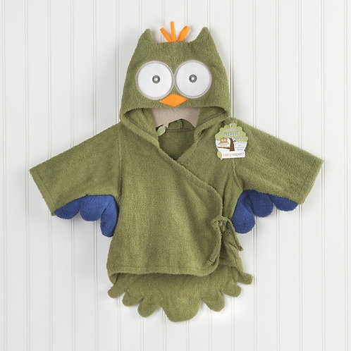 """My Little Night Owl"" Hooded Terry Spa Robe Green"
