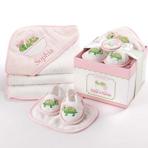 """""""Tillie the Turtle"""" Four-Piece Bathtime Gift Set"""