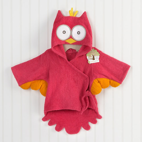 """My Little Night Owl"" Hooded Terry Spa Robe Pink"