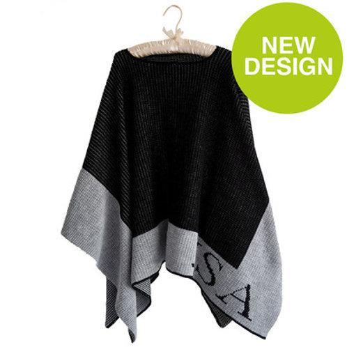 Personalized Single Border Blanket Poncho