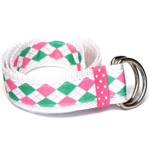 Pink & Green Argyle Belt