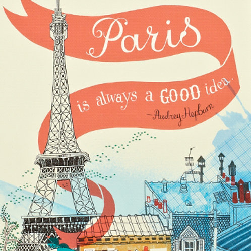 "Write Now Journal- ""PARIS IS ALWAYS A GOOD IDEA."" -AUDREY HEPBURN"