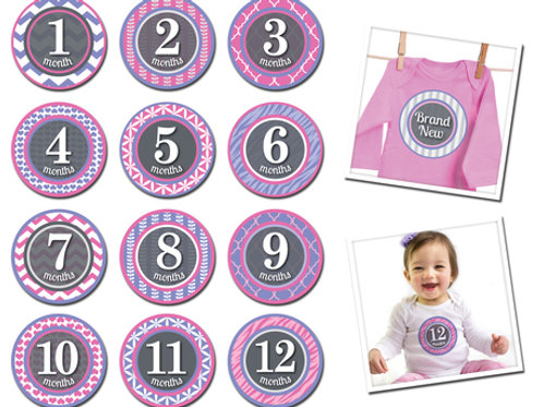 Monthly Age Stickers- Newborn to 12mo