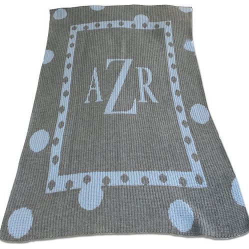 Cashmere Personalized Blanket with Name or Monogram and Large Polka Dot