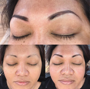Tattooed powder brows
