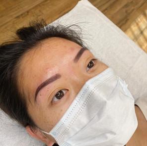 tattooed eyebrows (powder brow)