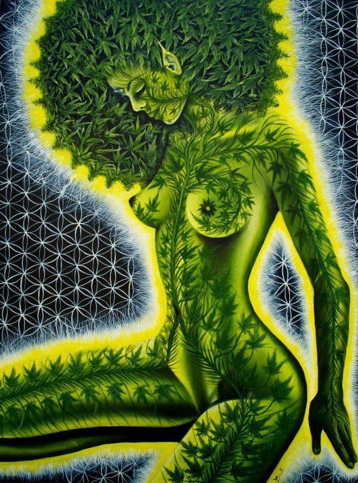 Cannabis Woman by Alex Grey