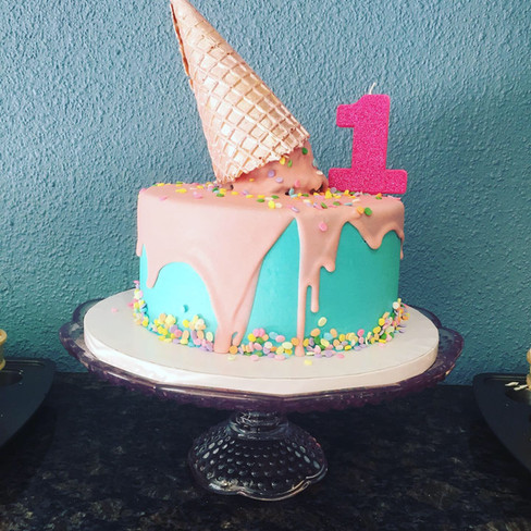Melted Ice Cream Birthday Cake