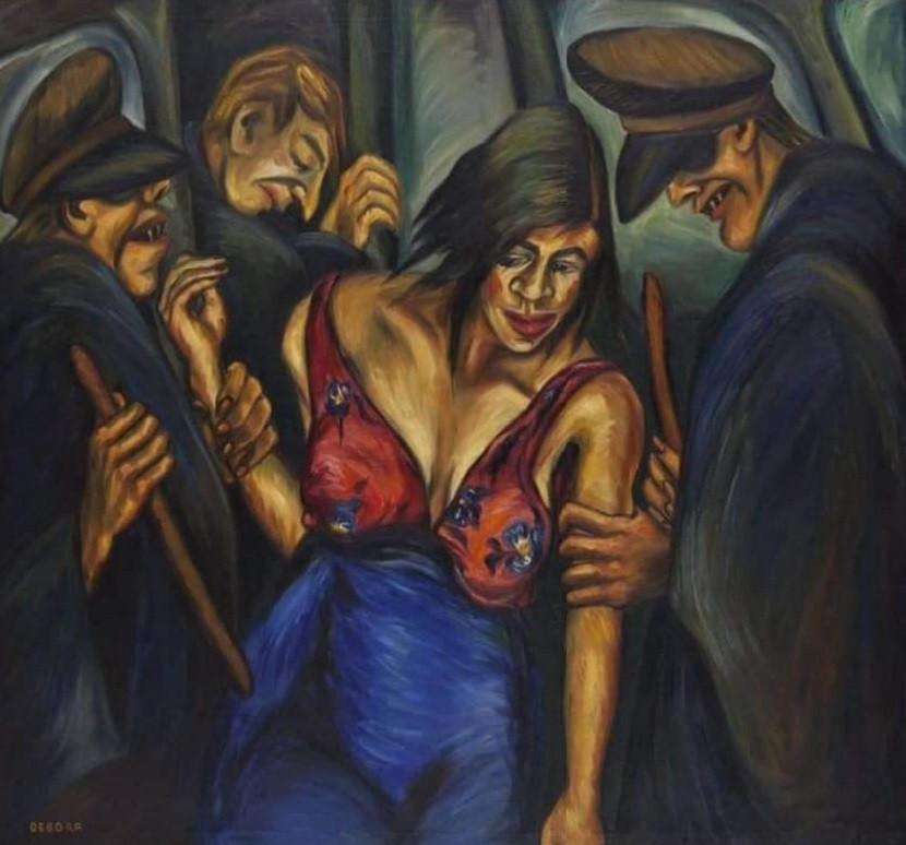 Justicia. Óleo sobre lienzo, de Débora Raango. 109 x 121 cms. (1944).