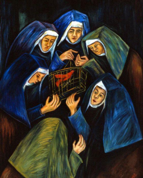 El Recreo o Las Monjas y El Cardenal. Óleo de Débora Arango sobre lienzo de gran tamaño, 1.77 x 1.27 mts. (1996). / Se halla en MAMM.