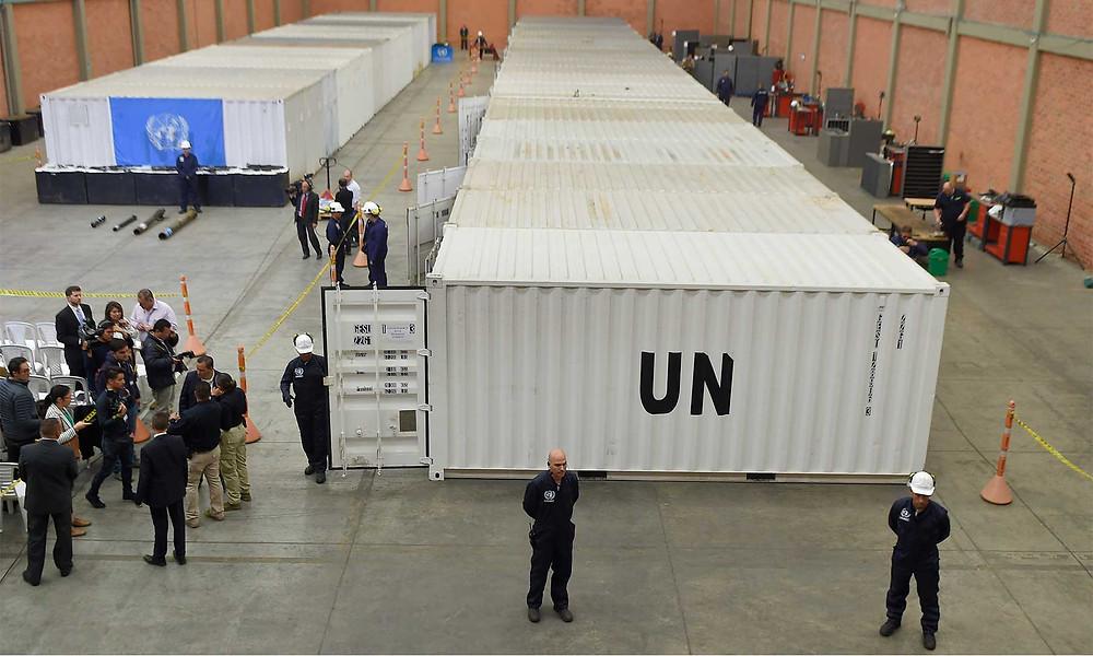 Depósito general en Funza, Cundinamarca, donde Naciones Unidas ubicó las armas inutilizadas, / Foto: Efraín Herrara, SIG.