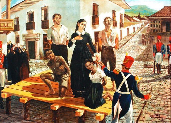 Fusilamiento de Antonia Santos, autor: Luis Angel Rengifo, 1950, Museo de la Independencia - Casa del Florero.