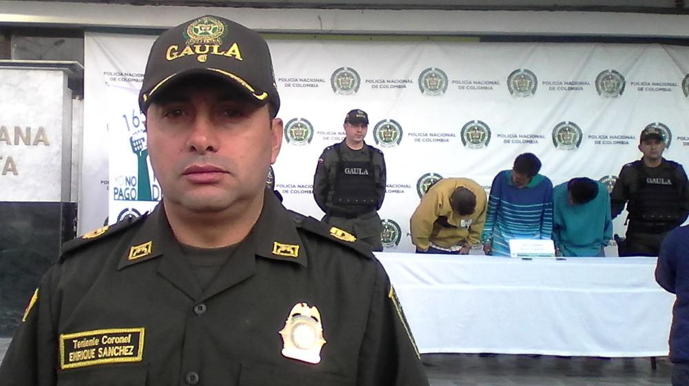 Teniente coronel Luis Enrique Sánchez, jefe del Gaula de la Policía Metropolitana de Bogotá./Foto: Róbinson Ospina, CIUDAD PAZ