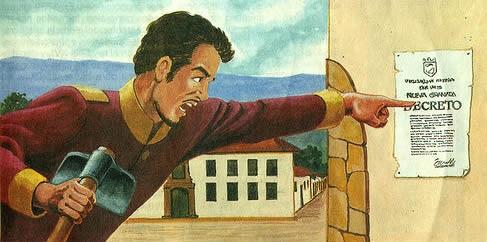 'Centenario de los comuneros', dibujo de Alberto Urdaneta. Impreso el 16 de marzo de 1881 por el Museo Nacional de Colombia.