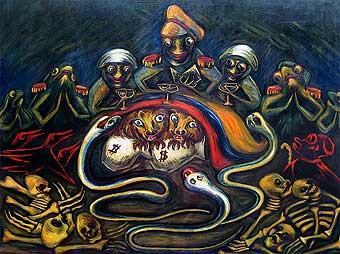 Rojas Pinilla. Acuarela de Débora Arango, 41 x 50 cms. (1954). Como fue tradicional, la artista ironiza al dictador dándole forma de sapo. / Se halla en MAMM.