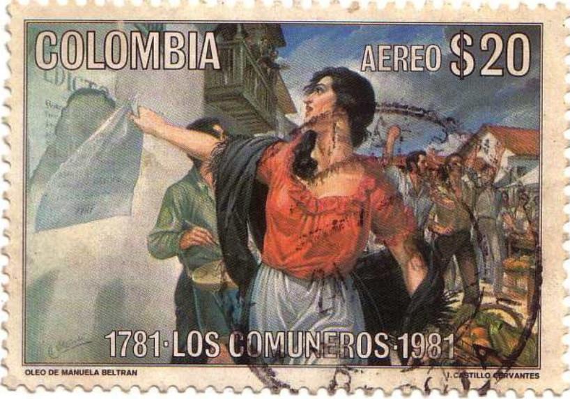 Estampilla editada en Colombia en 1981, al conmemorarse el Bicentenario de la 'Revolución de los Comuneros'.