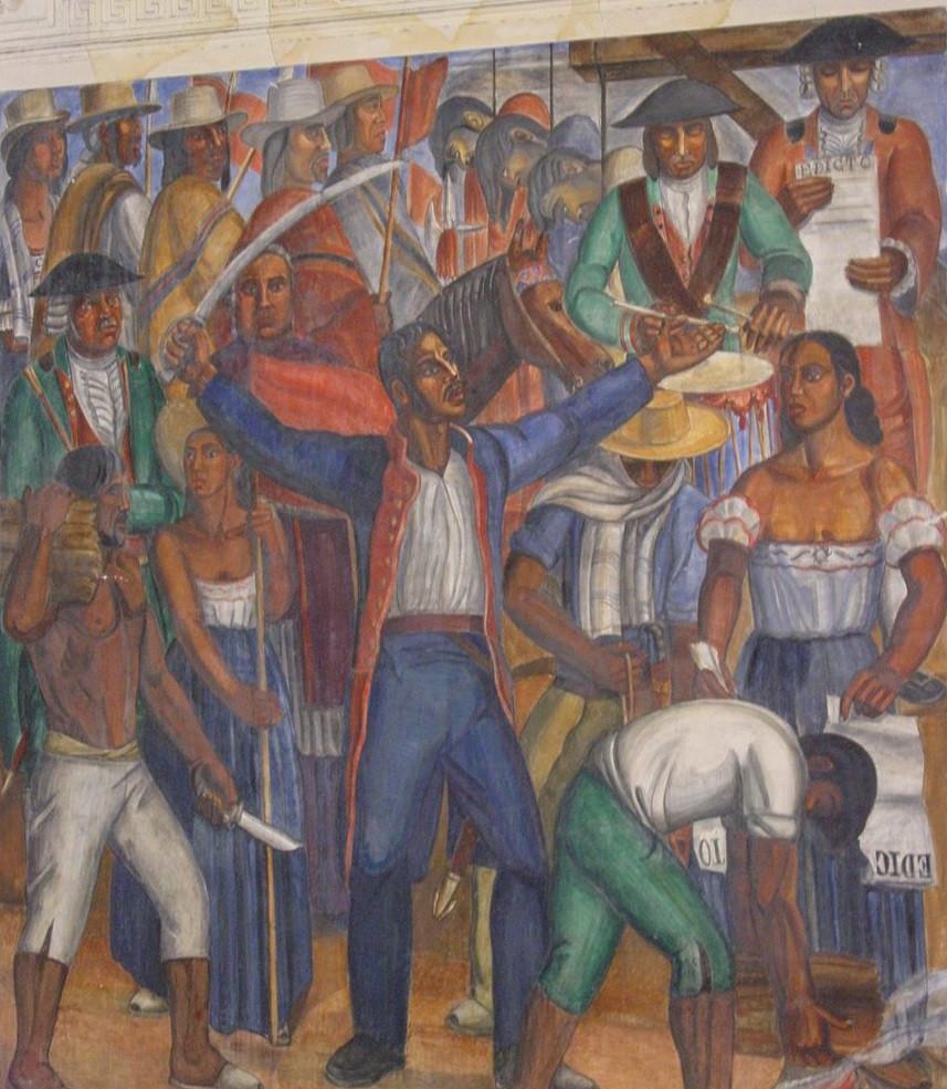 'Rebelión de los Comuneros', hito de las luchas populares en Colombia. Iniciada el 16 de marzo de 1781. Mural de Ignacio Gómez Jaramillo, 1937, en el Congreso Nacional.