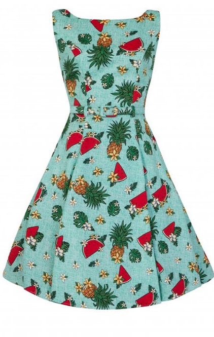 Collectif Hepburn tropical fruit doll dress