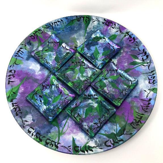 Living Art by Leah Purple Garden Party Patchwork Seder Plate