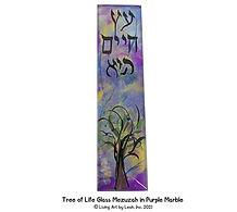 Tree of Life Glass Mezuzah