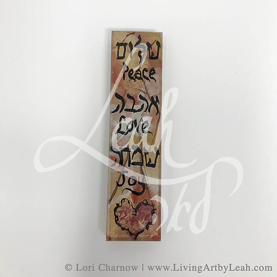 Peace Love Joy with Heart Glass Mezuzah
