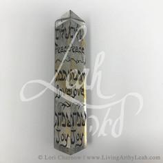 Peace Love Joy Prism Mezuzah