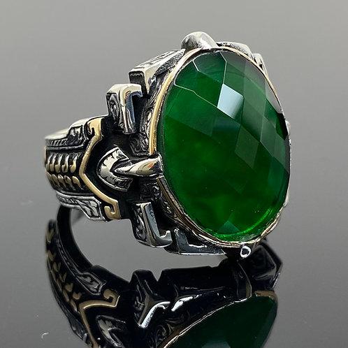 Handmade 925k Sterling Silver Large & Elegant Green Zircon Men's Ring