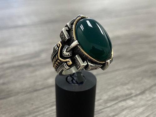Handmade 925k Sterling Silver Large & Elegant Green Agate Aqeeq Men's Ring