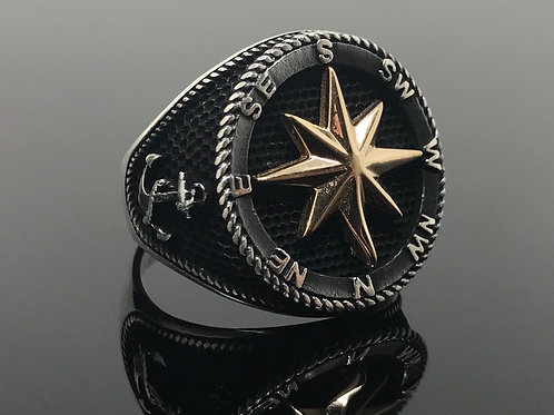 925k Solid Sterling Silver Sailor's Compass Men's Ring