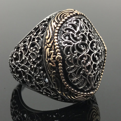 Heavy 925K Sterling Silver Ottoman Style Men's Ring