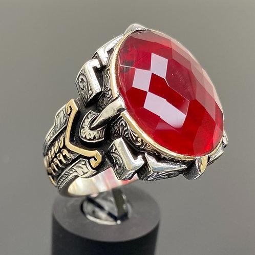 Handmade 925k Sterling Silver Large & Elegant Red Zircon Men's Ring