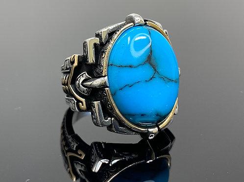 Handmade 925k Sterling Silver Large & Elegant Turquoise Men's Ring