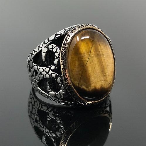 925K Sterling Silver Tiger Eye Men's Ring Carved Snake Motif