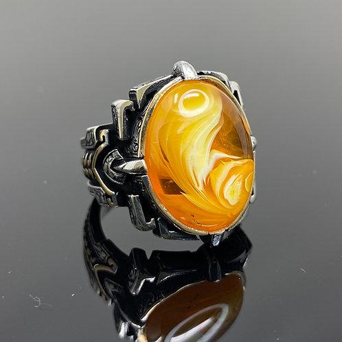 Handmade 925k Sterling Silver Large & Elegant Creamy Amber Men's Ring
