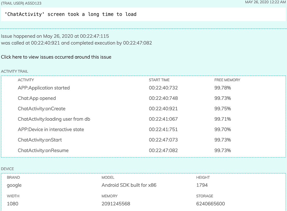 Screenshot of screen loading delay reported by Finotes SDK in dashboard