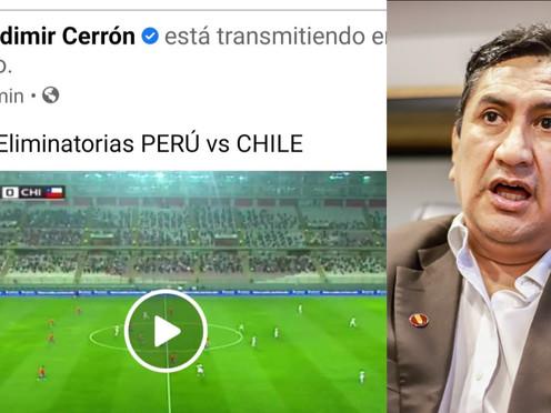 VLADIMIR CERRÓN TRANSMITIÓ EN VIVO PARTIDO ENTRE PERÚ VS. CHILE Y FUE CRITICADO