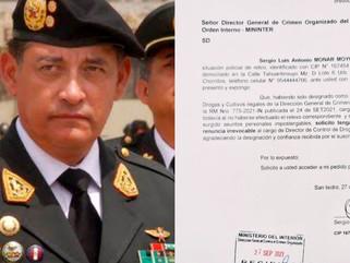 GENERAL DE LA PNP RENUNCIA TRES DIAS DESPUÉS DE SER DESIGNADO JEFE DE CONTROL DE DROGAS