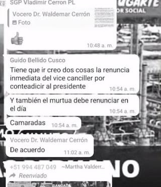 ¡URGENTE! REVELAN PUGNAS EN CHATS DE BANCADA DE PERÚ LIBRE