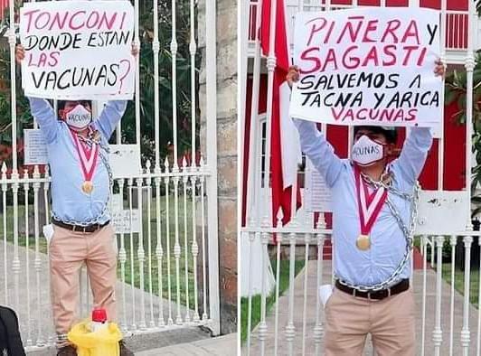 TACNA: CONSEJERO SE ENCADENA EN CONSULADO DE CHILE Y SUPLÍCA POR VACUNAS PARA EL PAÍS