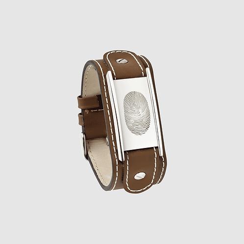 Armband zilveren plaat incl. vingerafdruk
