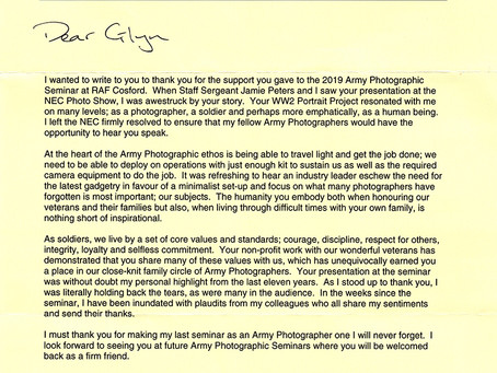 Letter from British Army Photographers
