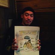 """Portrait of """"Juン""""_今日はイケてる友人の似顔絵を描かせていただき"""