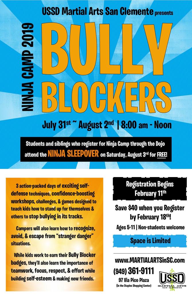 Registration for Bully Blockers 2019 Ninja Camp Open Now!