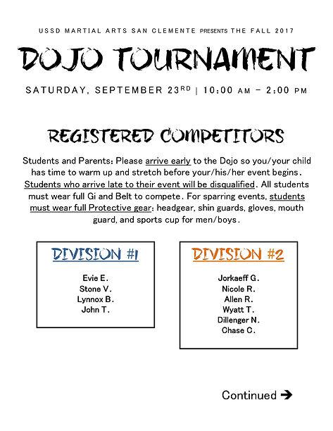 UPDATE* Fall 2017 Dojo Tournament | Martial Arts in San