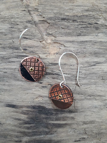 Textured Copper Earrrings with handformed silver earwires