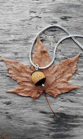 Lava Rock and Copper pendant on silver chain