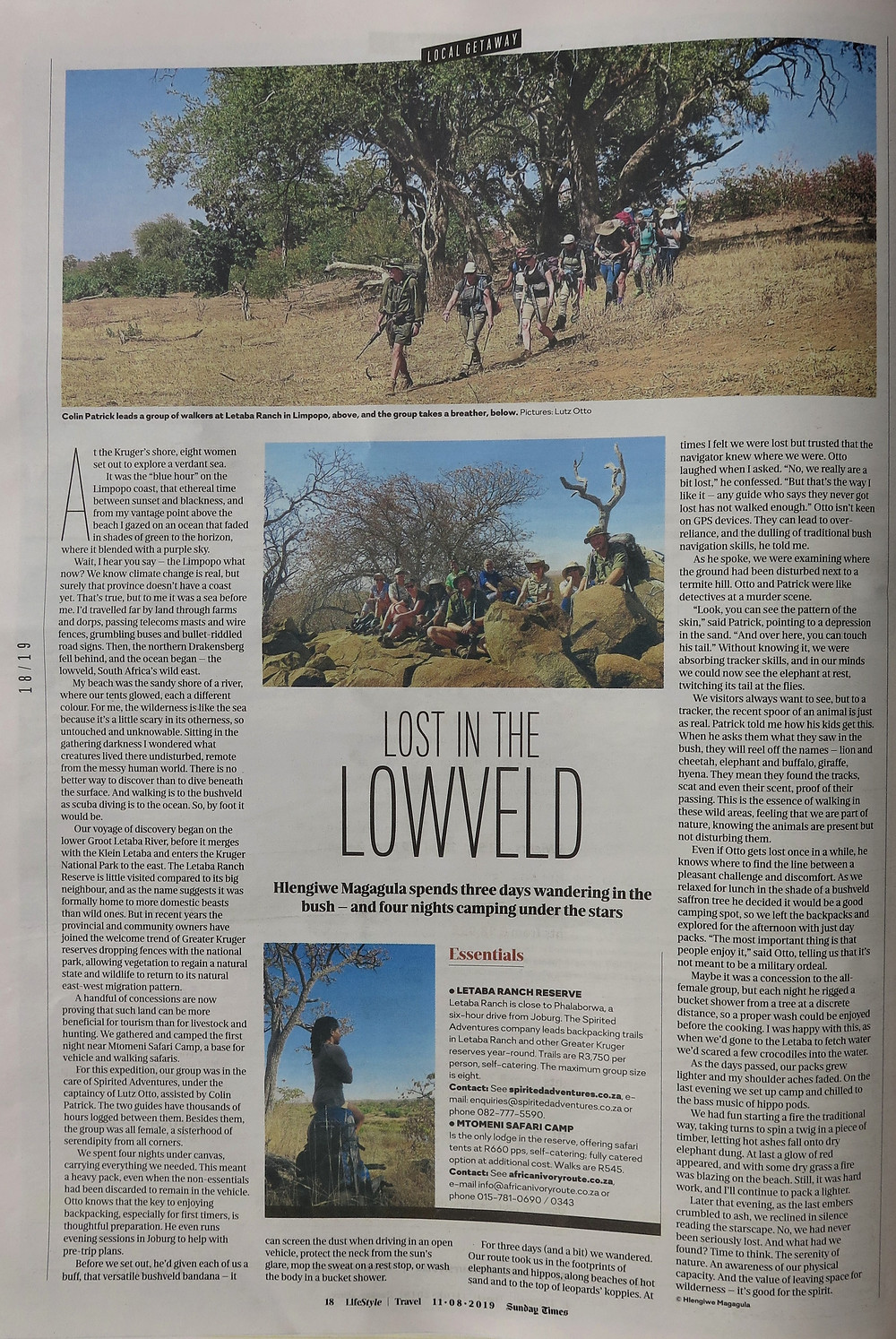 Backpacking Safari:  Sunday Times Travel Feature