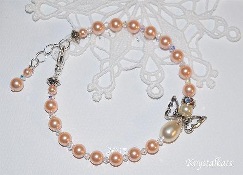 Peach Pearl Crystal Angel Baby Girl Sweetness Bracelet, Angel Lovers, Mom Gift