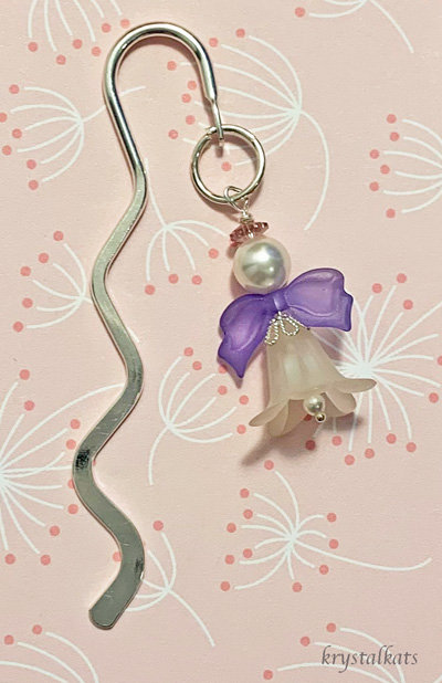 Purple Wings Angel Shepherds Hook Bookmark with Swarovski Crystal Pearls & Halo