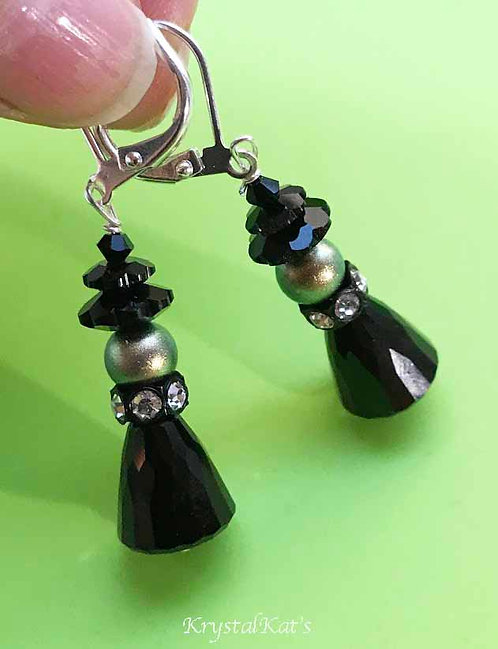Ritzy Witch Earrings Featuring Swarovski Crystal with Silver Leverbacks